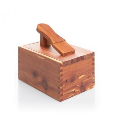 Cassetta portalucidi piccola con poggiapiede (pulizia scarpe) in legno massello