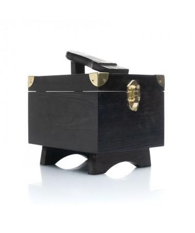 Cassetta portalucidi media con poggiapiede (pulizia scarpe) in legno massello